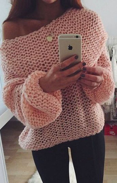 Fashion Bateau Neck Long Sleeves Pink Acrylic Regular Pullover Sweater
