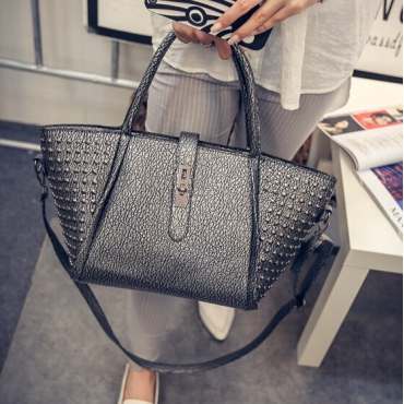 Women Fashion Rivets Decorated Hasp Design Grey PU Clutches Bag