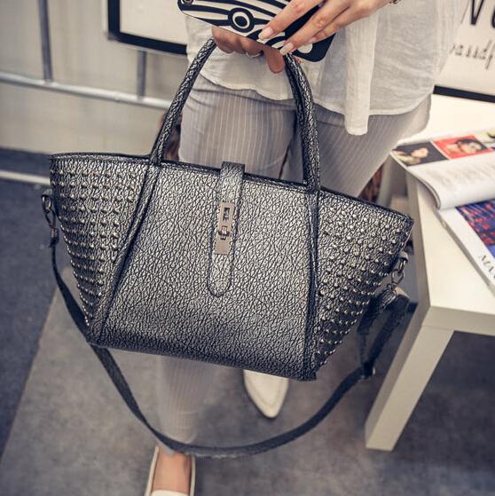 Women Fashion Rivets Decorated Hasp Design Grey PU Clutches Bag