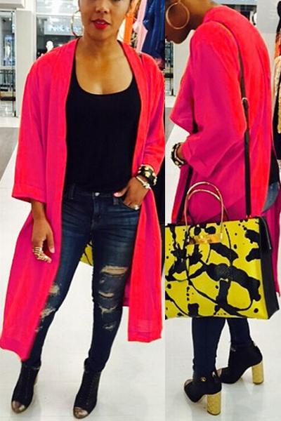 Fashion Three Quarter Sleeves Back Split Red Polyester Long ...