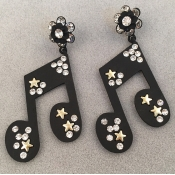 Fashion Musical Note Shaped Black Acrylic Earrings