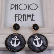 Fashion Circle Anchor Shaped White Metal Earrings