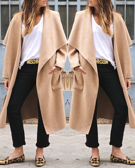 Fashion Turndown Collar Long Sleeves Khaki Long Wool Trench Coat