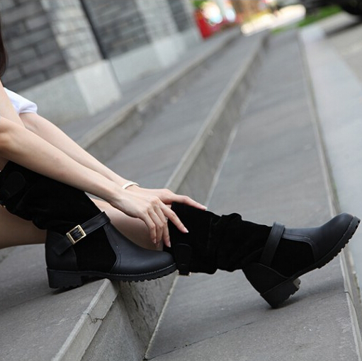 Весенний осенний круглый носок плоский средний каблук Черный PU Slip на средней теленок пряжки сапоги кавалеры