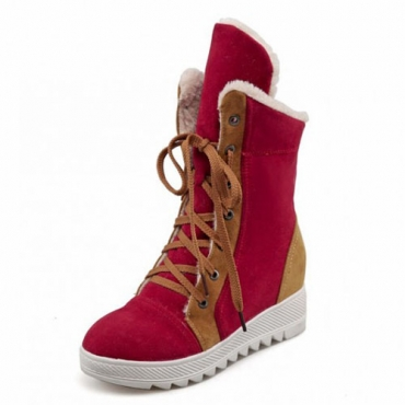 Winter Round Toe Lace Up Flat Low Heel Red PU Ankle Snow Boots