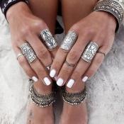 Fashion Engraved Silver Metal Rings