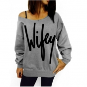 Casual Long Sleeves Letters Print Grey Cotton Blend Regular Pullover Sweat