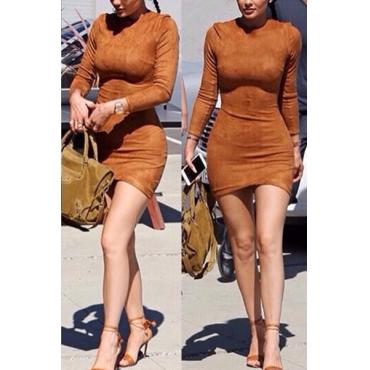 Fashion O Neck Long Sleeves Brown Sheath Mini Womens Dress