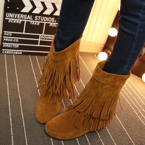 Spring Autumn Round Toe Tassles Embellished Wedge Mid Heel Yellow PU Slip On Mid Calf Tassel Snow Boots