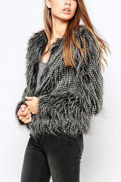 Fashion O Neck Long Sleeves Faux Fur Jacket