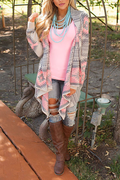 Fashion Print Long Sleeves Cotton Blends Long Cardigan