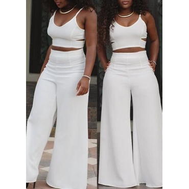 51004fe109e9 45 Lovely Sexy V Neck Spaghetti Strap Sleeveless Hollow-out White Polyester  Two-piece Pants