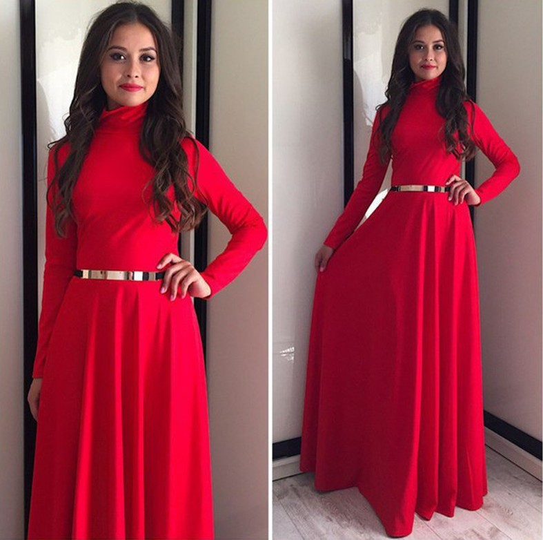 long red turtleneck dress sexy turtleneck long sleeves red acrylic ankle length 5575