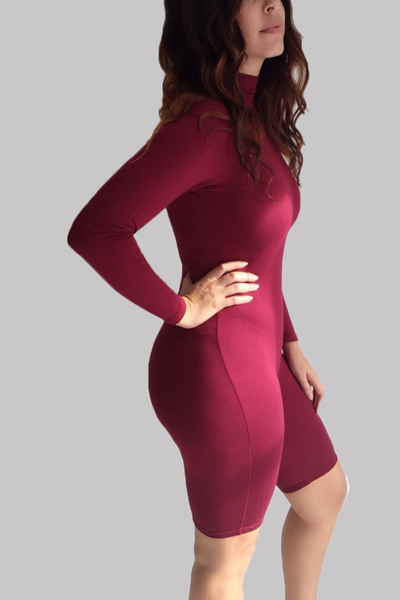 Sexy Turtleneck Long Sleeves Solid Red Spandex One Piece Skinny