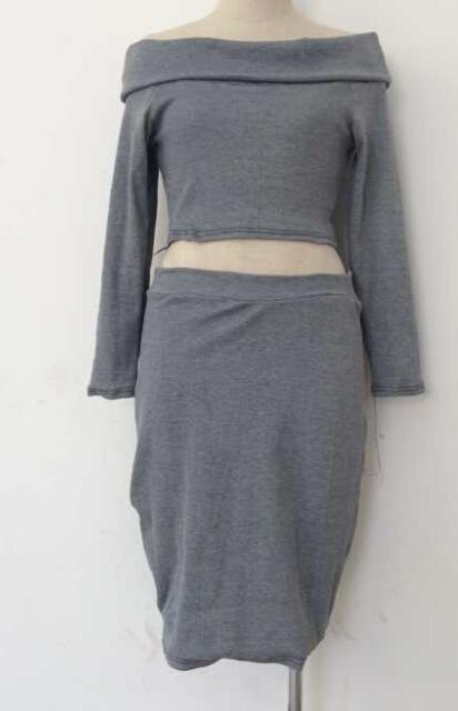 Fashion Bateau Neck Long Sleeves Grey Cotton Blend Two-piece Skirt Set