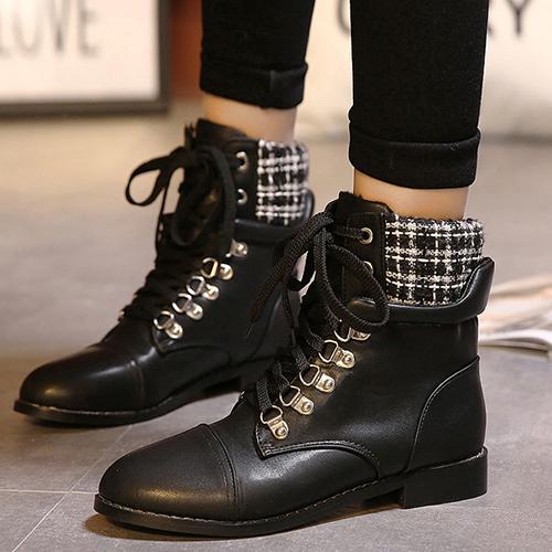 Winter Round Toe White Plaids Patchwork Lace Up Platform Flat Low Heel Black PU Short Motorcycle Boots