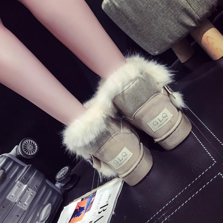 Moda Inverno Toe Rodada Slip Fivela Strap Flat Low Heel Bege PU Short Snow Boots