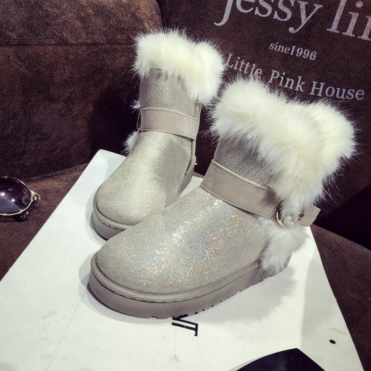 Зимняя мода Круглый Toe Slip Пряжка ремень Плоский Низкий каблук Бежевый PU Короткие снежные сапоги