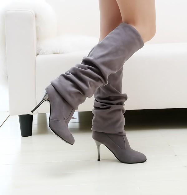 Inverno Moda Round Toe Slip on Stiletto High Heel Gray Suede sobre o joelho Cavalier Boots