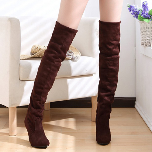 Зимняя мода круглый toe скольжения на туфли на высоком каблуке коричневые замшевые сапоги выше колен Кавалергардского
