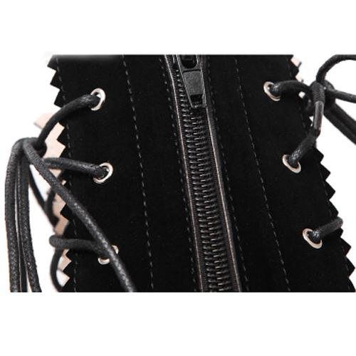 Spring Autumn Round Peep Toe  Zipper Design  Lace Up Stiletto Super High Heel Black Suede Knee High Sandals