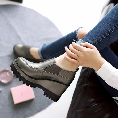 Casual Round Toe High Heel Platform Grey PU  Shoes