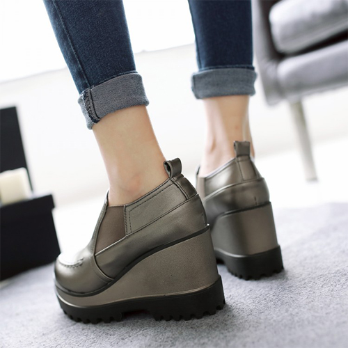 Casual Round Toe High Heel Platform Grey PU  Shoes