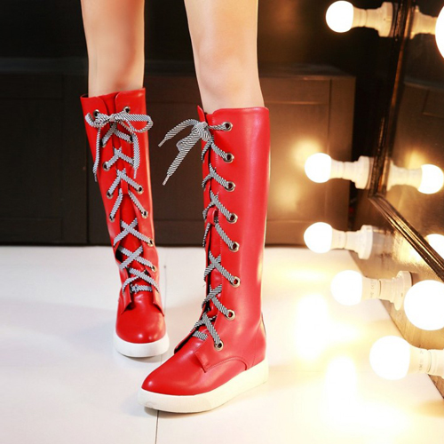 Fashion Spring Autumn  Round Toe Lace Up Flat Low Heel Red PU Knee High Boots