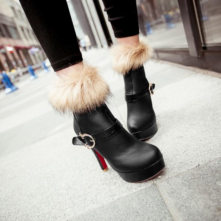 Winter Round Toe Buckle Zipper Design Stiletto Super High Heel Black PU Ankle Martin Boots