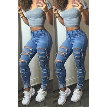 Fashion Mid Waist Button Fly Broken Holes Blue Denim Skinny Jeans