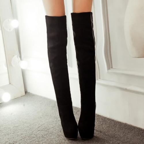 Мода Зимой Круглый Носок Скольжения На Лоскутное Шитье Супер Высокой Пятки Черный PU Над Колен Сапоги