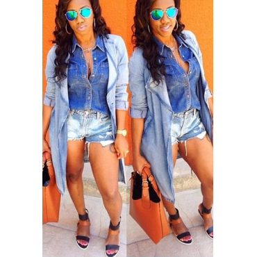 Fashion Turndown Collar Long Sleeves Blue Cotton Blend Long Trench Coat