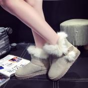 Winter Fashion Round Toe Slip Buckle Strap Flat Lo
