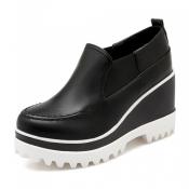 Casual Round Toe High Heel Platform Black PU Shoes