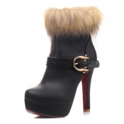 Winter Round Toe Buckle Zipper Design Stiletto Sup