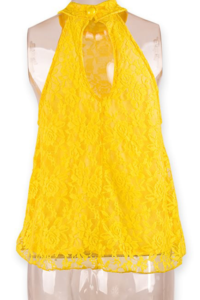 Cheap Sexy Sleeveless Back Split Solid Yellow Lace Shirt