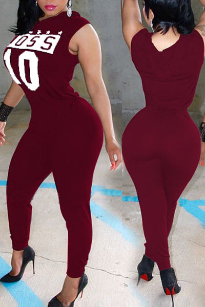 Womens Jumpsuit  Casual Sleeveless Letters Print Wine Red Spandex One-piece Jumpsuit