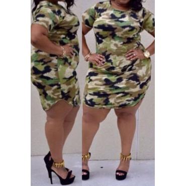 Casual O Neck Short Sleeves Camouflage Print Cotton Blend Sheath Mini Dress