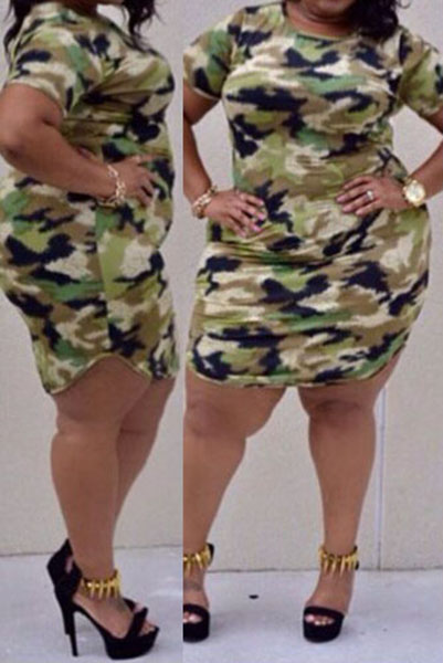 Casual O Neck Short Sleeves Camouflage Print Cotton Blend Sheath Mini Dress