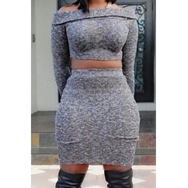 Fashion Bateau Neck Long Sleeves Grey Cotton Blend Two-piece Skirt Set