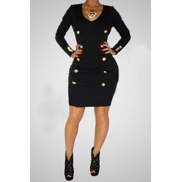 Trendy V Neck Long Sleeves Buckles Embellished Black Polyester  Sheath Mini Women Dress