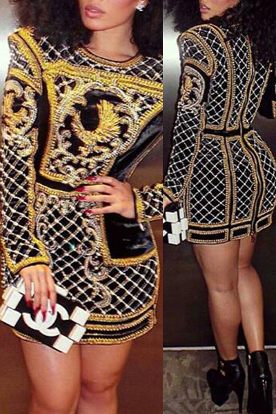 Fashion O Neck Long Sleeves Digital Print Polyester Sheath Mini Dress