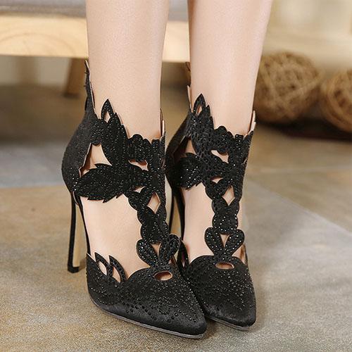 Fashion Pointed Closed Toe Rhinestone Stiletto Super High Heel Black PU Basic Pumps