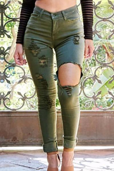 Trendy High Waist Button Fly Broken Holes Green Cotton Blend Skinny Jeans