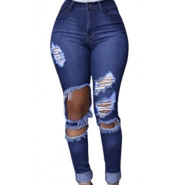 Stylish High Waist Button Fly Broken Holes Blue Polyester Skinny Jeans