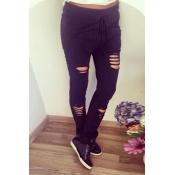 Fashion Hollow-desgin Solid Black Polyester Drawstring Mid Pants
