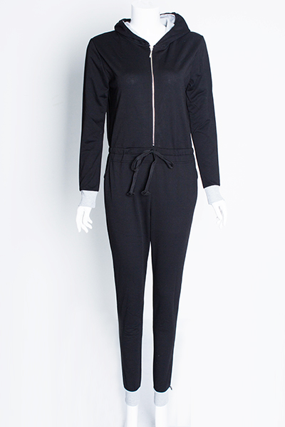 Womens Fashionable Hooded Long Sleeve V-Neck Jumpsuit