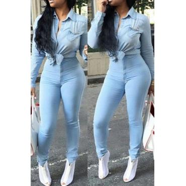 elegant hohe-Taille Button Fliegen Licht Blue Denim Skinny Pants