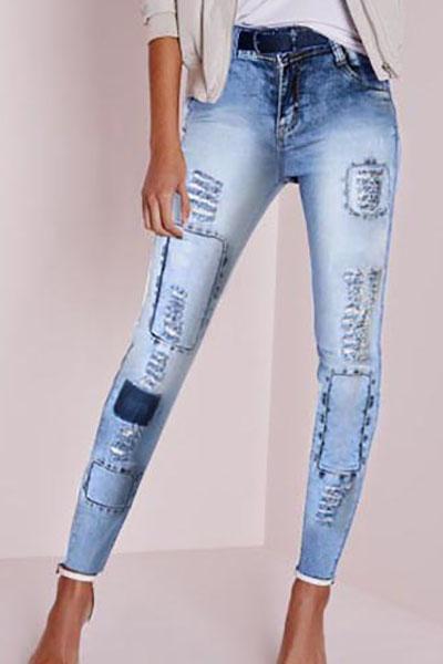 Stylish Mid Waist Elasticity Broken Holes Design Blue Cotton Skinny Pants