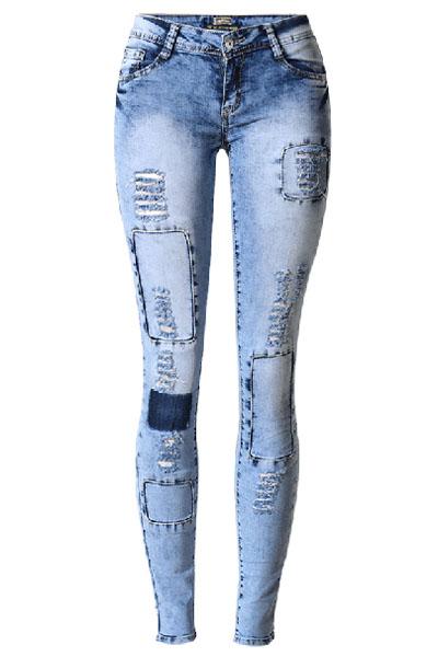 Pantalones Ajustados Con Estilo De Cintura Elástica Agujeros Rotos Diseño Azul Flaco De Algodón